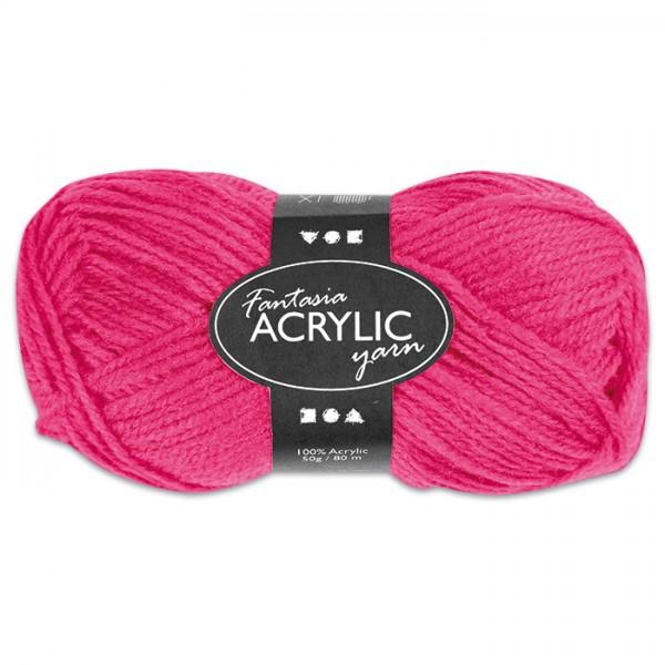 Fantasia Acryl-Wolle 50g neonpink 100% Polyacryl, für Nadel Nr. 4