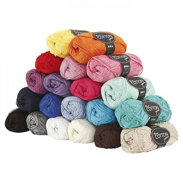 Baumwollgarn-Set 20 Farben à 50g 100% Baumwolle, für Nadel Nr. 3-3,5