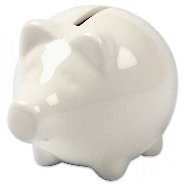 Sparschwein klein Porzellan 10x8x8cm weiß mit Gummistopfen