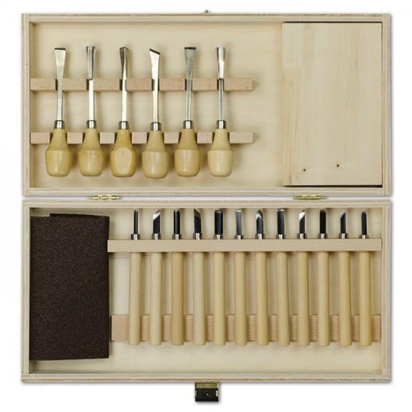 Schnitz-Set inkl. 6 Beitel 12 Messer 20-teilig Schnitzblock 160x97x25cm, Schmirgelpapier