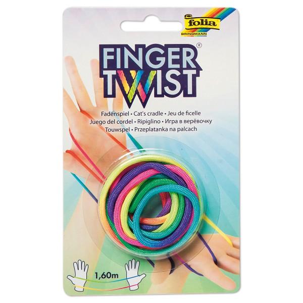 Finger Twist Fadenspiel Schnur 160cm regenbogenfarben Polyester-Nylonmischung, ab 3 Jahre