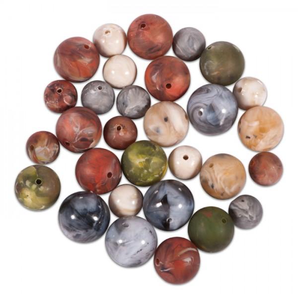 Kunststoffperlen marmoriert 12/16/18mm 30 St. Mix Lochgr. ca. 1,3mm