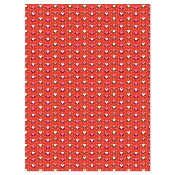 Decoupagepapier Blumenherzen weiß/rosa auf rot von Décopatch, 30x40cm, 20g/m²