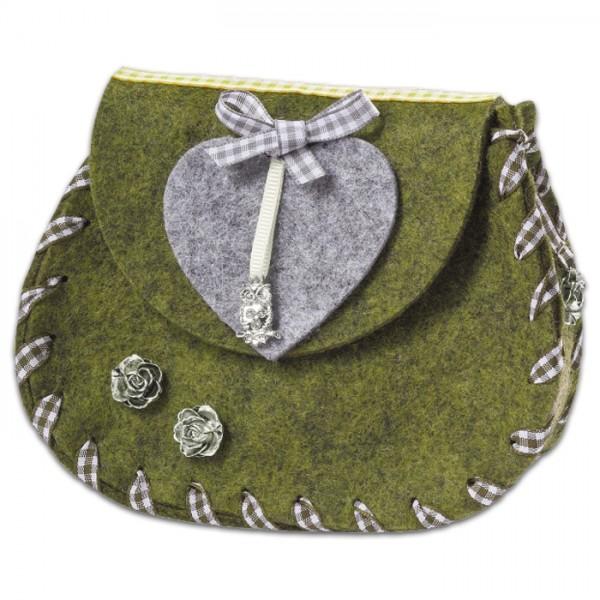 Taschenrohling Kufstein grün meliert Filz, 100% Polyester, 14x6x11cm