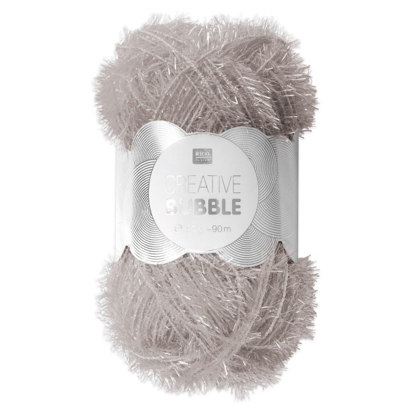 Creative Bubble Wolle 50g ca. 90m silberfarben Nadel Stricken Nr. 2, Häkeln Nr. 4, 100% Polyester