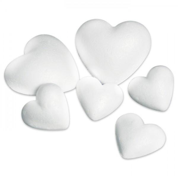 Styropor-Herz gewölbt voll weiß 5cm