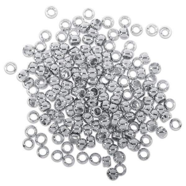 Quetschperlen Metall 3mm 3,3g ca. 50 St. platinf.
