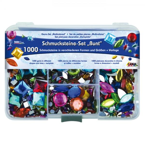 Schmucksteine-Set 5-20mm 1.000 St. bunt Kunststoff, versch. Formen