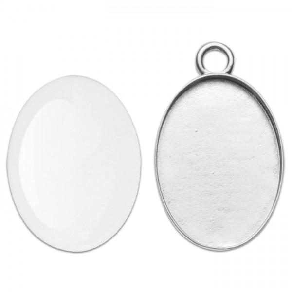 Anhänger + Cabochon 27x19mm oval silberfarben Metall, Glas, Lochgr. ca. 3mm