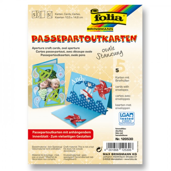Passepartoutkarten DIN A6 5 St. oval himmelblau inkl. Kuvert&Einlegeblatt, 220g/m²