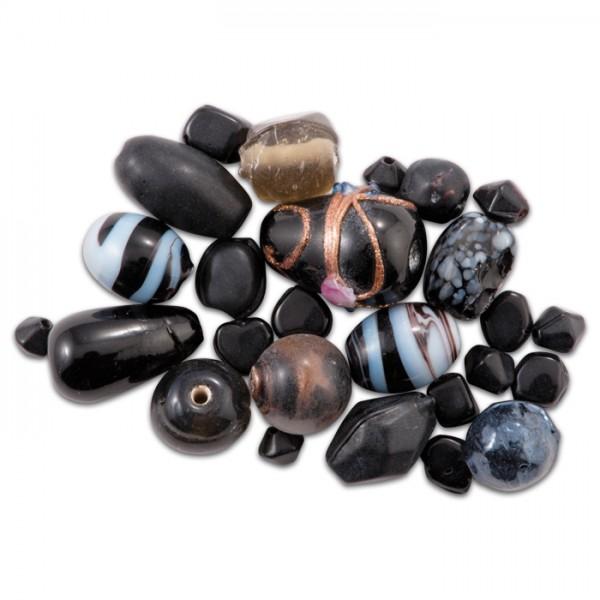 Glasperlen glänzend 9-15mm 100g schwarz handgefertigt, Lochgr. ca. 0,9-1,5mm