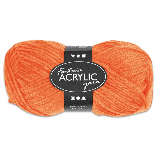 Fantasia Acryl-Wolle 50g neonorange 100% Polyacryl, für Nadel Nr. 4