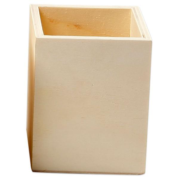 Stiftehalter Holz 7,5x7,5x9,5cm natur