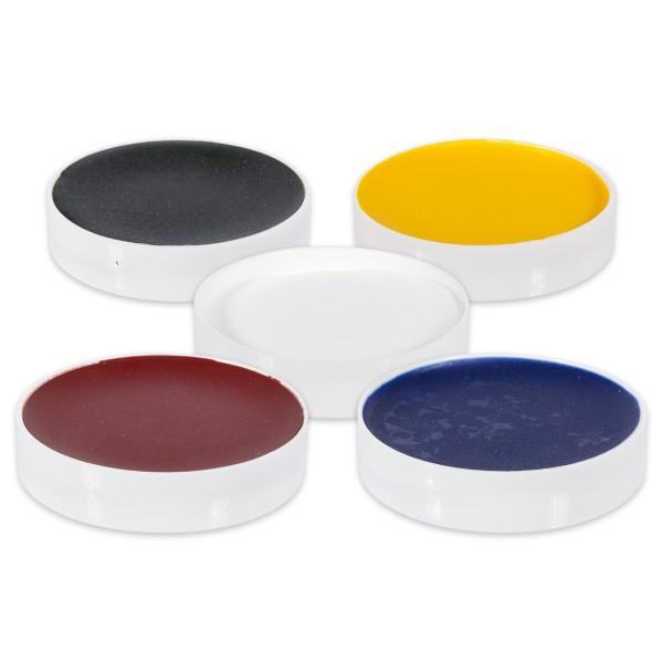 Wachsfarbpigmente Set mit 5 Farben à 10g rot, weiß, blau, grün, gelb