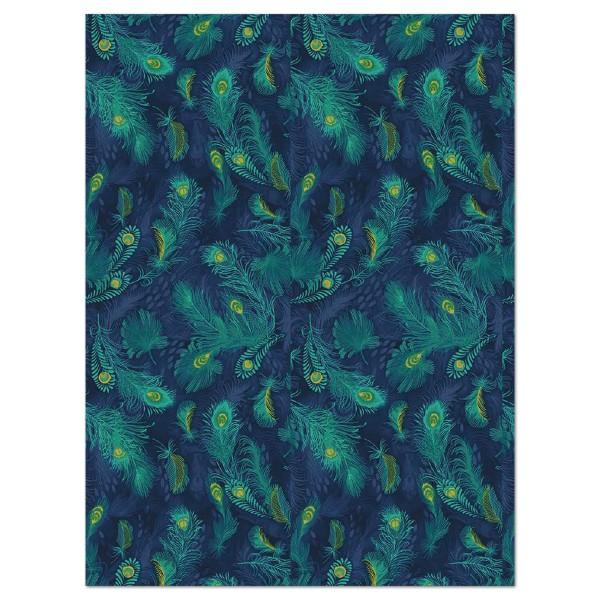 Decoupagepapier Pfauenfedern dunkelblau von Décopatch, 30x40cm, 20g/m²