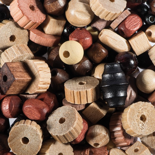 Holzperlen-Mix ca. 4-12mm 70g naturton Lochgröße ca. 1-2mm