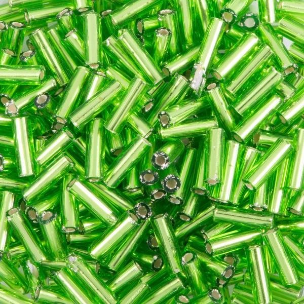Glasstifte transparent 6mm 15g grün Silbereinzug, Lochgr. ca. 0,9mm