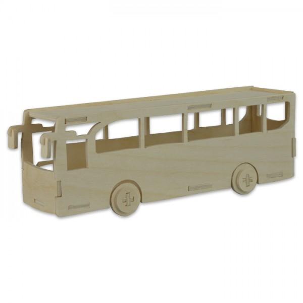 Holzbausatz Bus ca. 20,5x7x5,5cm 20 Teile vorgestanzt, zum Zusammenstecken