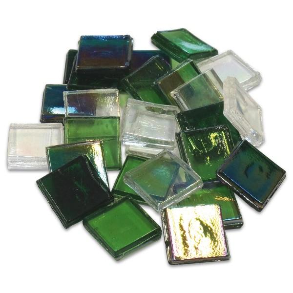 Eis Glas transparent 15x15x4mm 1kg grün mix ca. 500 St.