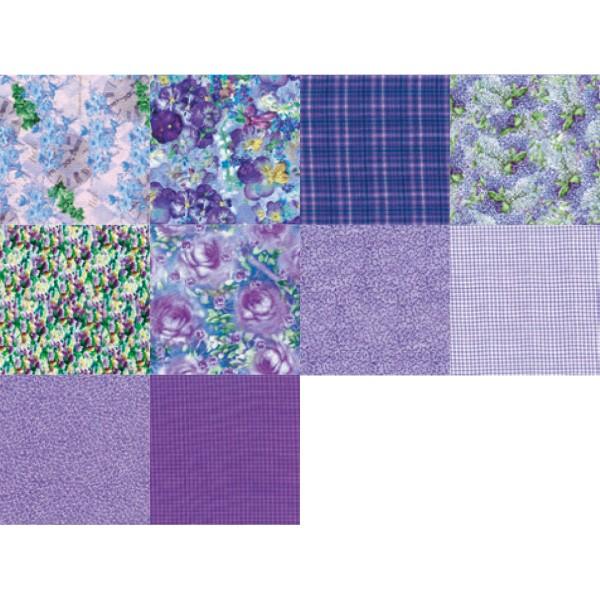 Patchwork-Set 10 Zuschnitte à 45x55cm lila 100% Baumwolle, 140g/m²