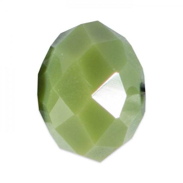 Facettenschliffperlen 8mm 20 St. olivgrün pastellfarben, feuerpoliert, Glas, Lochgr. ca. 1mm
