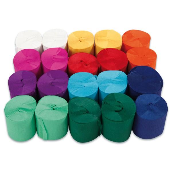 Krepp-Papier-Bänder 5cm 20 St. à 20m 10 Farben à 2 Rollen, Bastelkrepp