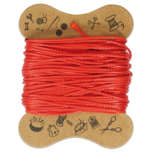 Kordel gewachst 0,5mm 10m hellrot 100% Baumwolle