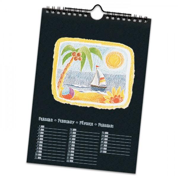 Dauerkalender Papier DIN A4 13 Bl. schwarz/silberf. 170g/m²