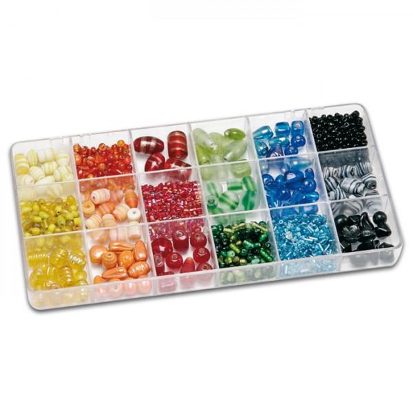 Schmuckbox groß Glasperlen 3-16mm 200g Mix bunt Lochgr. ca. 0,7-1,5mm