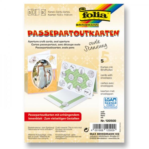 Passepartoutkarten DIN A6 5 St. oval weiß inkl. Kuvert&Einlegeblatt, 220g/m²