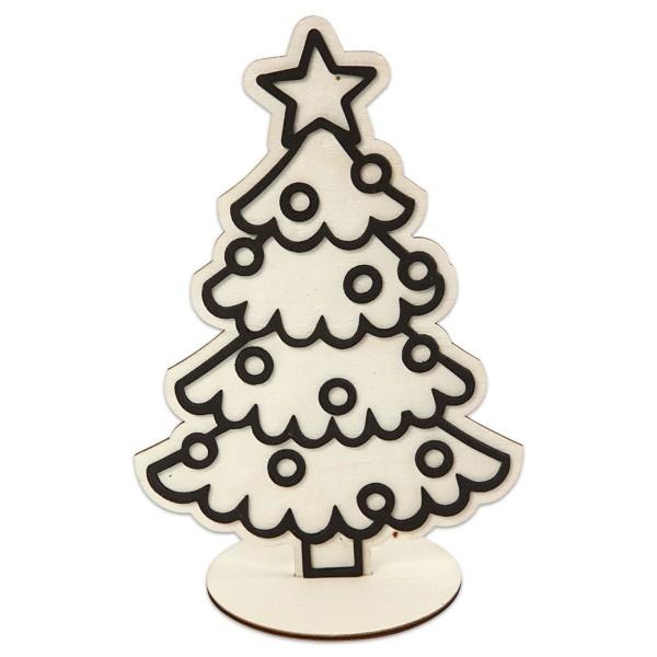 Dekofigur Weihnachtsbaum Holz 19,5cm natur mit Umrissen aus Moosgummi, inkl. Standfuß
