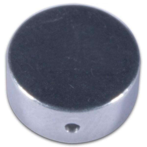 Aluperle flach 5x12mm 10 St. platinfarben Metall-Zwischenteil, Lochgr. ca. 0,7mm
