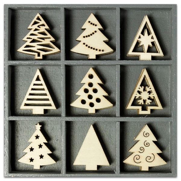 Mini-Holzornamente Weihnachtsbäume 45 St. natur 23-30mm
