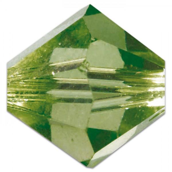 Glasschliffperlen 8mm 5 St. oliv Swarovski, Lochgr. ca. 1mm