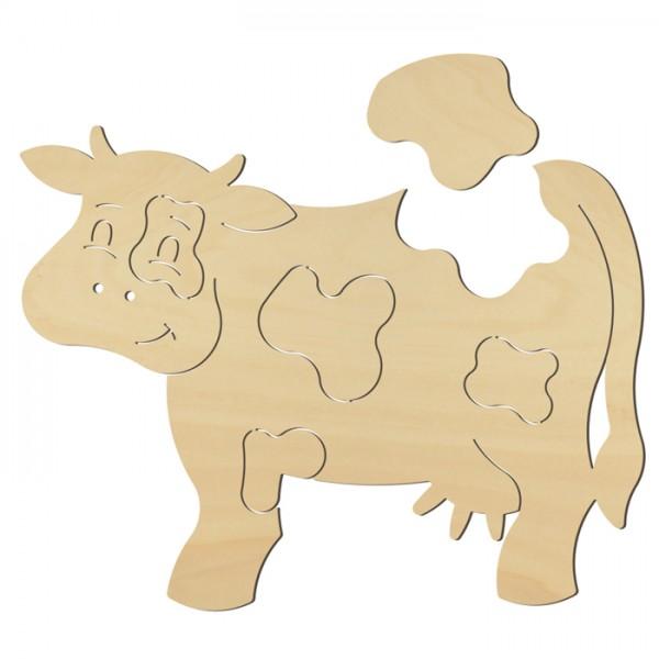 Puzzle-Figur Kuh Holz 4mm 17x12,5cm natur 6 Teile