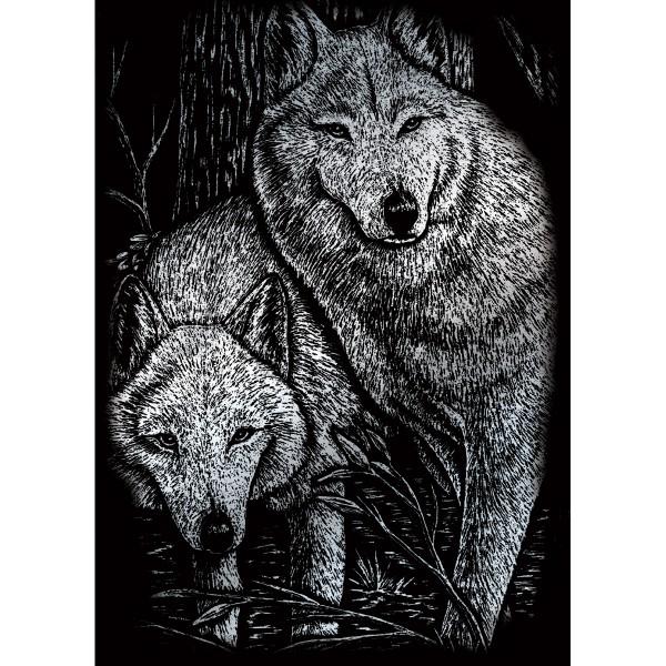 Kratzbild silber 12,7x17,8cm Zwei Wölfe