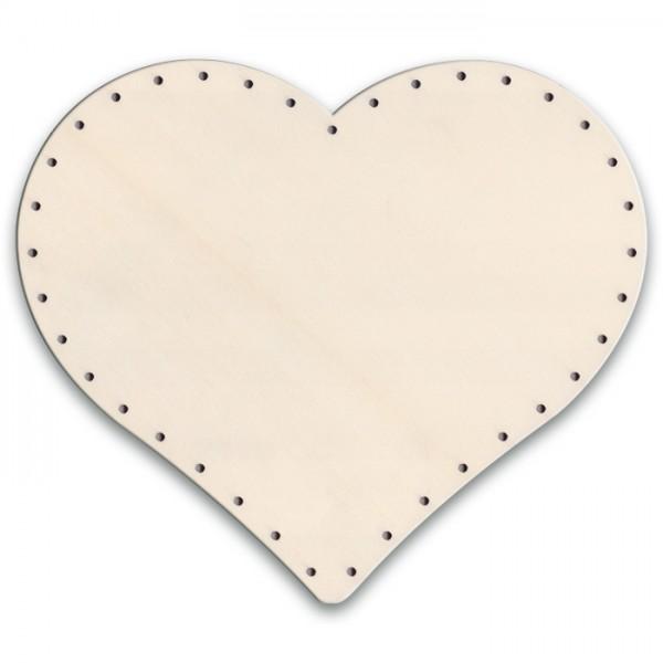 Korbflechtboden Holz 6mm ca. 43x37,5cm Herz natur 65 Bohrungen 3mm