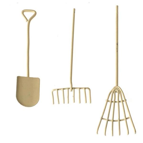 Mini-Gardening Werkzeug-Set 12cm 3-teilig creme Metall