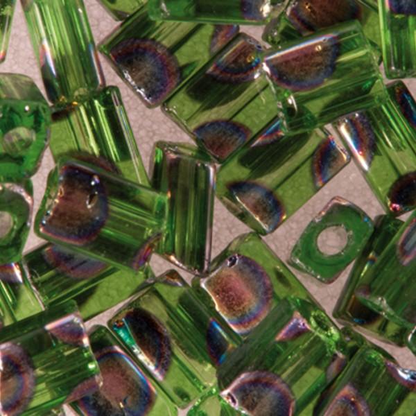 Glasperlen Rechteck 5mm 7g grün AB Lochgr. ca. 0,9mm