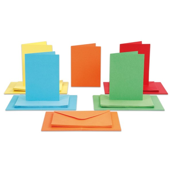 Doppelkarten 10,5x15cm 220g/m² 50 St. kräftige Farben inkl. Kuverts