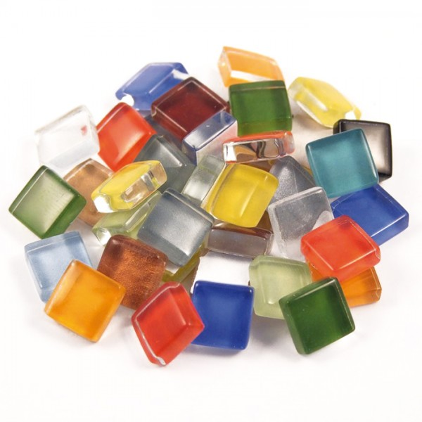Mosaik Soft-Glas 10x10x4mm 1kg bunt mix ca. 1.050 Steine