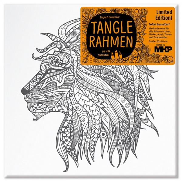Tangle-Keilrahmen 20x20x2cm Löwenkopf