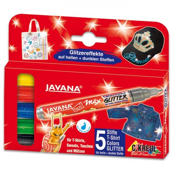 JAVANA Texi-Mäx Stoffmalstifte Set 5 St./Farben Glitter Strichbreite 2-4mm