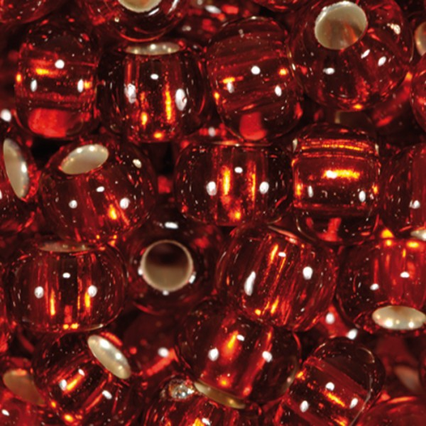 Rocailles transparent 4,5mm 17g rot Silbereinzug, Glas, Lochgr. ca. 1mm