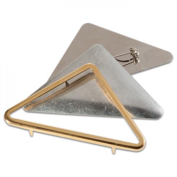 Seidenmalbrosche Dreieck goldfarben 3teilig, 70x40mm