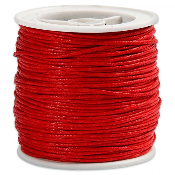 Baumwollband gewachst 1mm 40m rot 100% Baumwolle