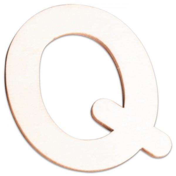 Holzbuchstabe Q ca. 3mm 6cm hoch natur