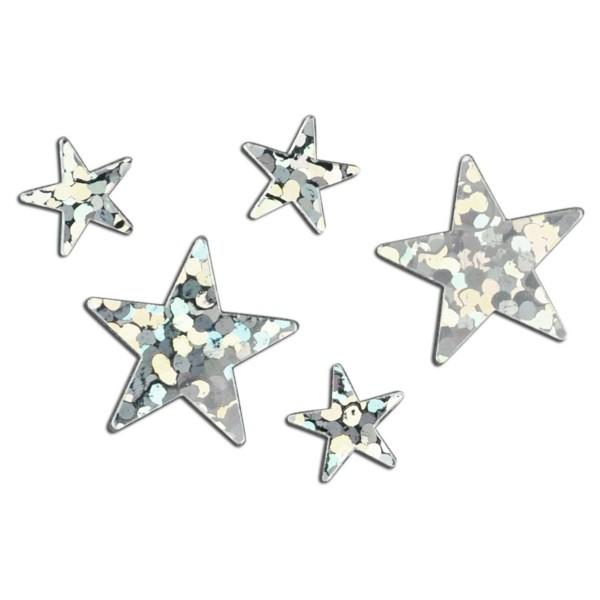Sternenstreu Hologramm 6&12mm 20g silberfarben Kunststoff