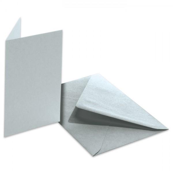 Doppelkarten 220g/m² 10,5x15cm 5 St. silber inkl. Kuvert&Einlegeblatt