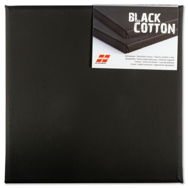 Keilrahmen 20x20cm schwarz 100% Baumwolle, ca. 380g/m²